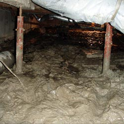 a crawl space repaired with structural support jacks
