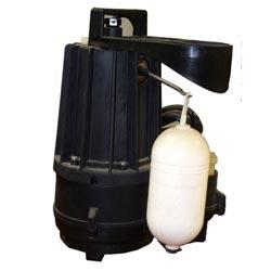A submersible plastic sump pump