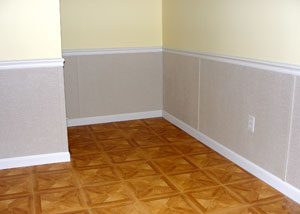 Wet drywall repaired with our waterproof basement wall system.
