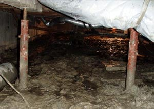 Old, corroded crawl space jack posts.