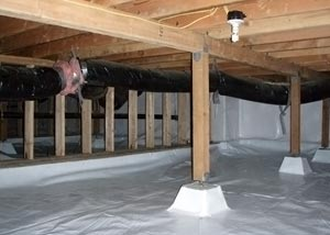 A crawl space encapsulation system installed