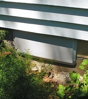 A sealed crawl space vent system