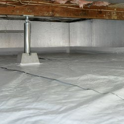 A sealed and encapsulated crawl space