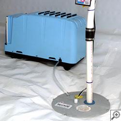 A self-draining crawl space dehumidifier.
