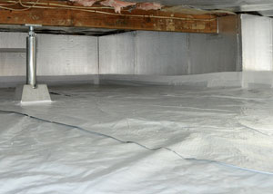 rigid foam insulation installed on crawl space walls