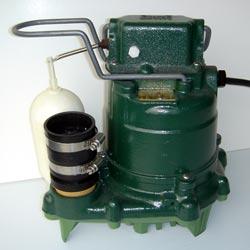 a cast-iron submersible Zoeller sump pump