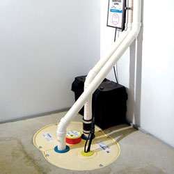 A complete sump pump and battery backup system installed in a home