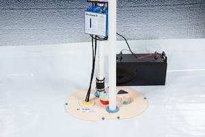 Our sump pump system, complete with floor drain and pump alarm