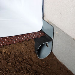 A crawl space French drain, drainage matting, and a durable liner.