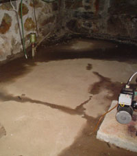 A basement flooding from various points.