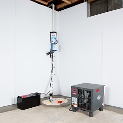 Sump pump system, dehumidifier, and basement wall panels installed during a sump pump installation in Berkeley