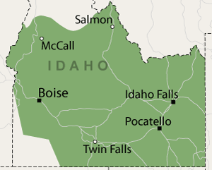 Service Area for National Radon Defense in Idaho