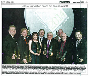 N.L. Basement Systems wins the 2014 Building Excellence and Residential Growth award
