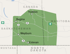 Our Saskatchewan and Manitoba service area map, showing our services in Esterhazy, and nearby