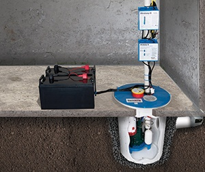a battery backup sump pump system in Brossard