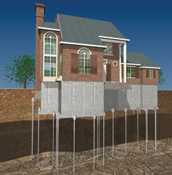 Diagram of a House in Montreal repaired by our Foundation Repair Contractors