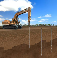 Computer render of a helical screw piles being installed in Montreal