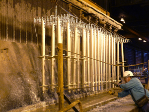 Helical lead sections receiving hot dip galvanizing.