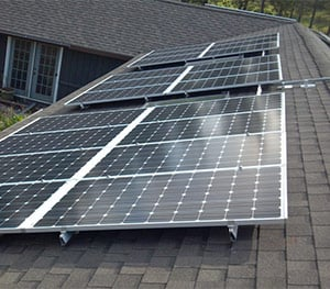 Roof mounted solar panels installed by Halco
