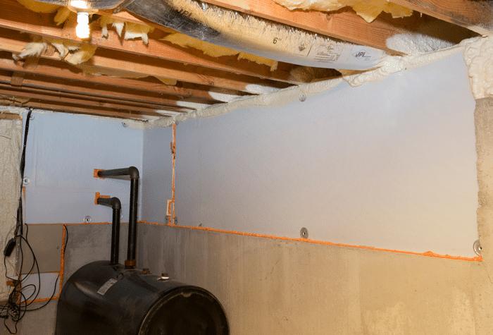 Murs du sous-sol après l'installation de Foamax