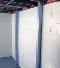 A PowerBrace™ i-beam foundation wall repair system