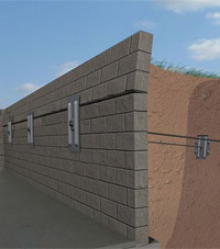A graphic illustration of a foundation wall system installed in Uniontown