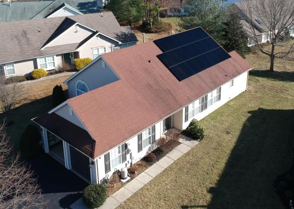 Solar energy paneling installed on a roof of a Jersey Shore home
