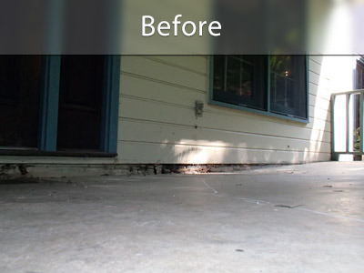 Before image of a sinking concrete deck.