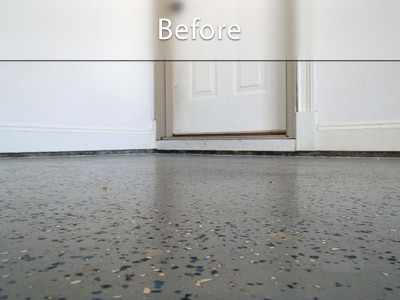 Before image of uneven garage floor