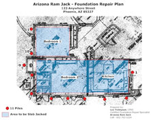 arizona foundation repair plan Casas Adobes, Tucson Estates and the Drexel Heights, arizona