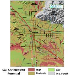 Soil shrink/swell potential in Tucson, AZ