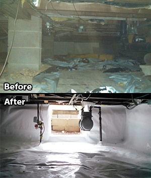 Crawl space insulation before and after