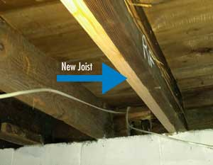 New floor joist installed