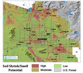 Soil shrink/swell potential in Phoenix, AZ