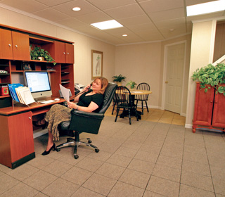 a finished basement office