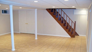 A complete finished basement system in a Kirtland home
