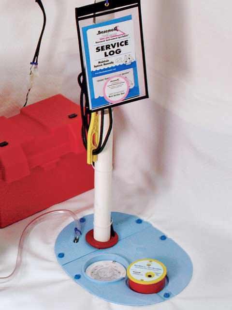 A sump pump installed