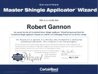 Robert Gannon- CertainTeed Master Shingle Applicator Wizard