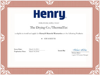 Henry Fluid-Applied Air Barrier Certified