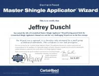 CertainTeed Master Shingle Applicator Wizard- Jeffrey Duschl