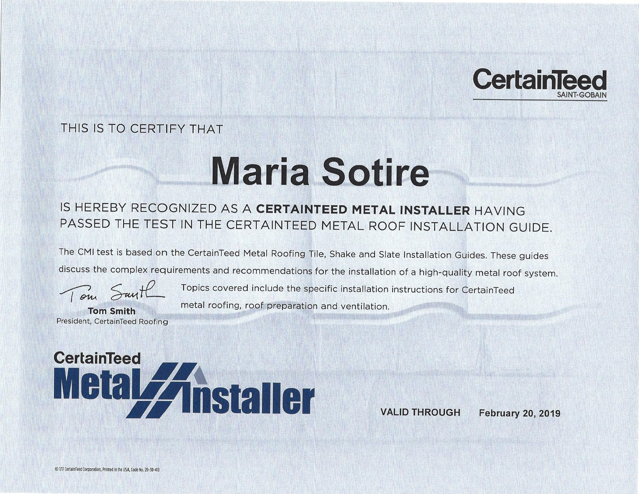 CertainTeed Metal Installer