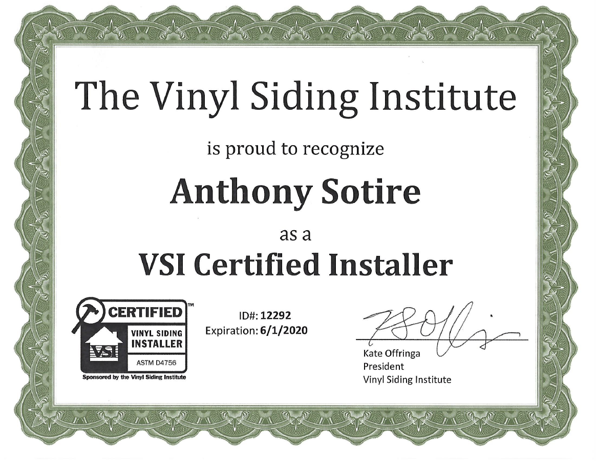 Vinyl Siding Institute Certification