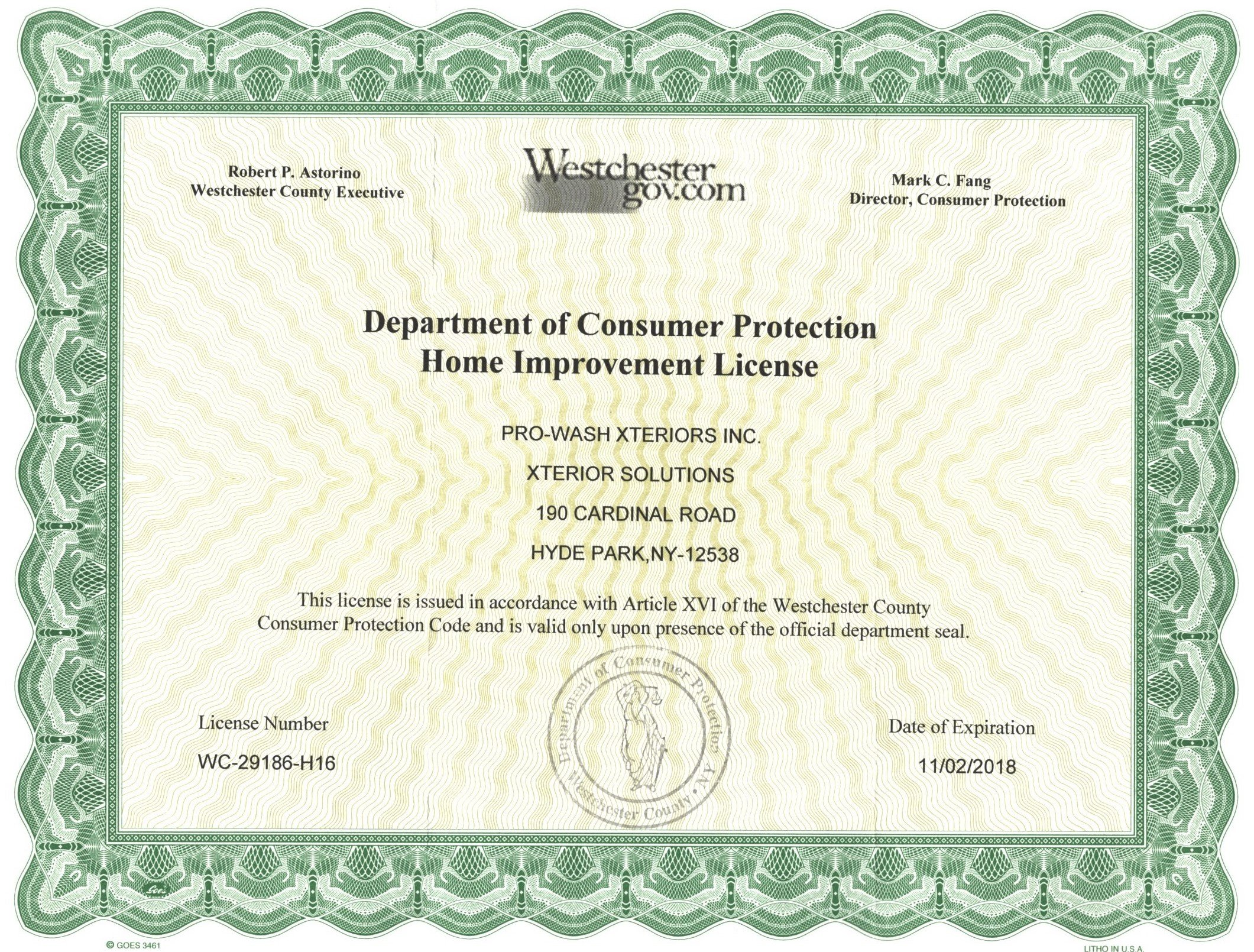 Westchester County Contractor License