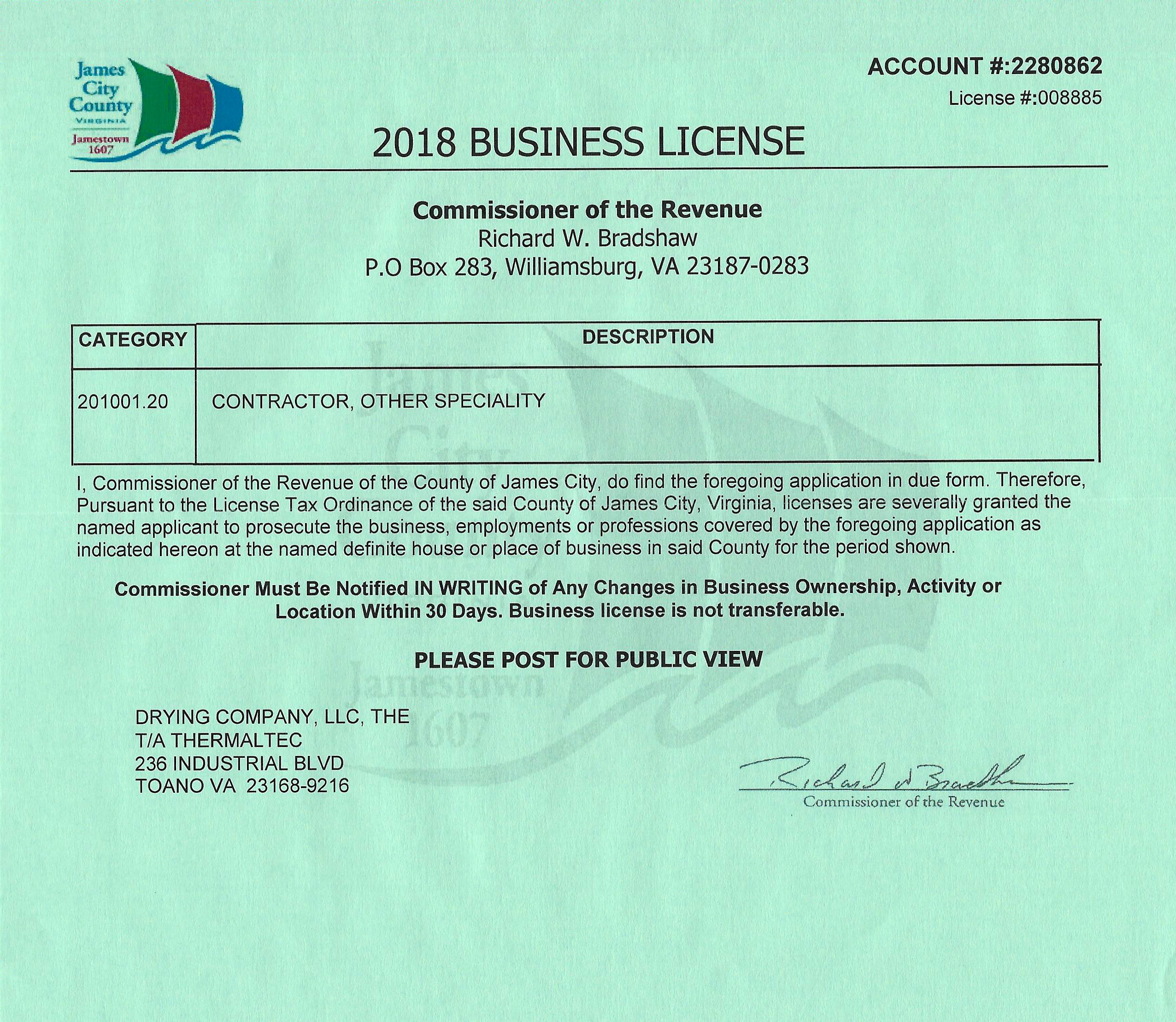 2018 Business Licence