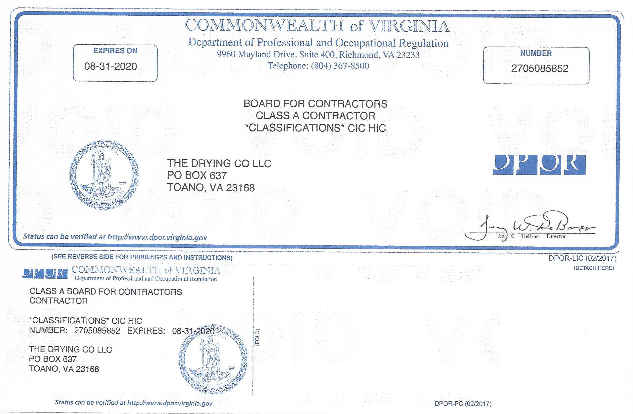 2019 Contractor License