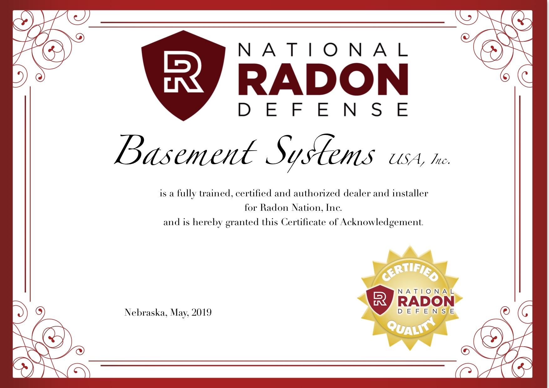 Authorized National Radon Defense Dealer