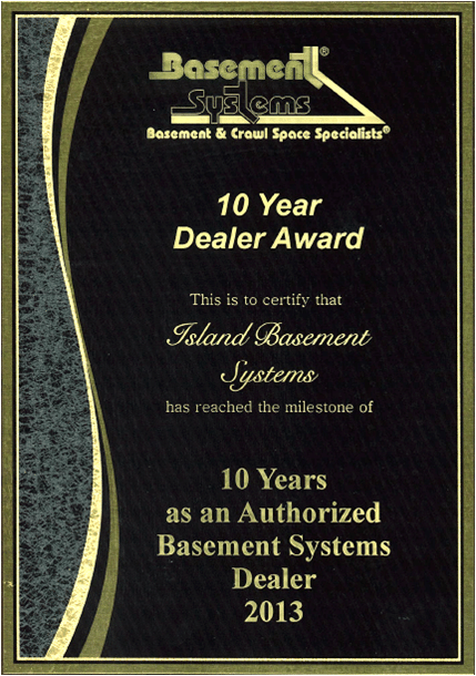 Basement Systems 10 Year Dealer Award