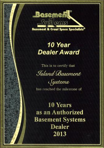 Basement Systems 10 Year Dealer Award