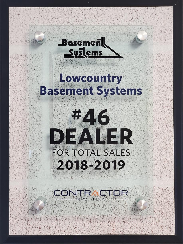 #46 Basement Systems Dealer in Total Sales 2019