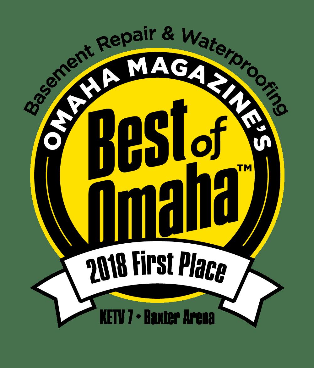 Best of Omaha 2018 - First Place Basement Repair & Waterproofing